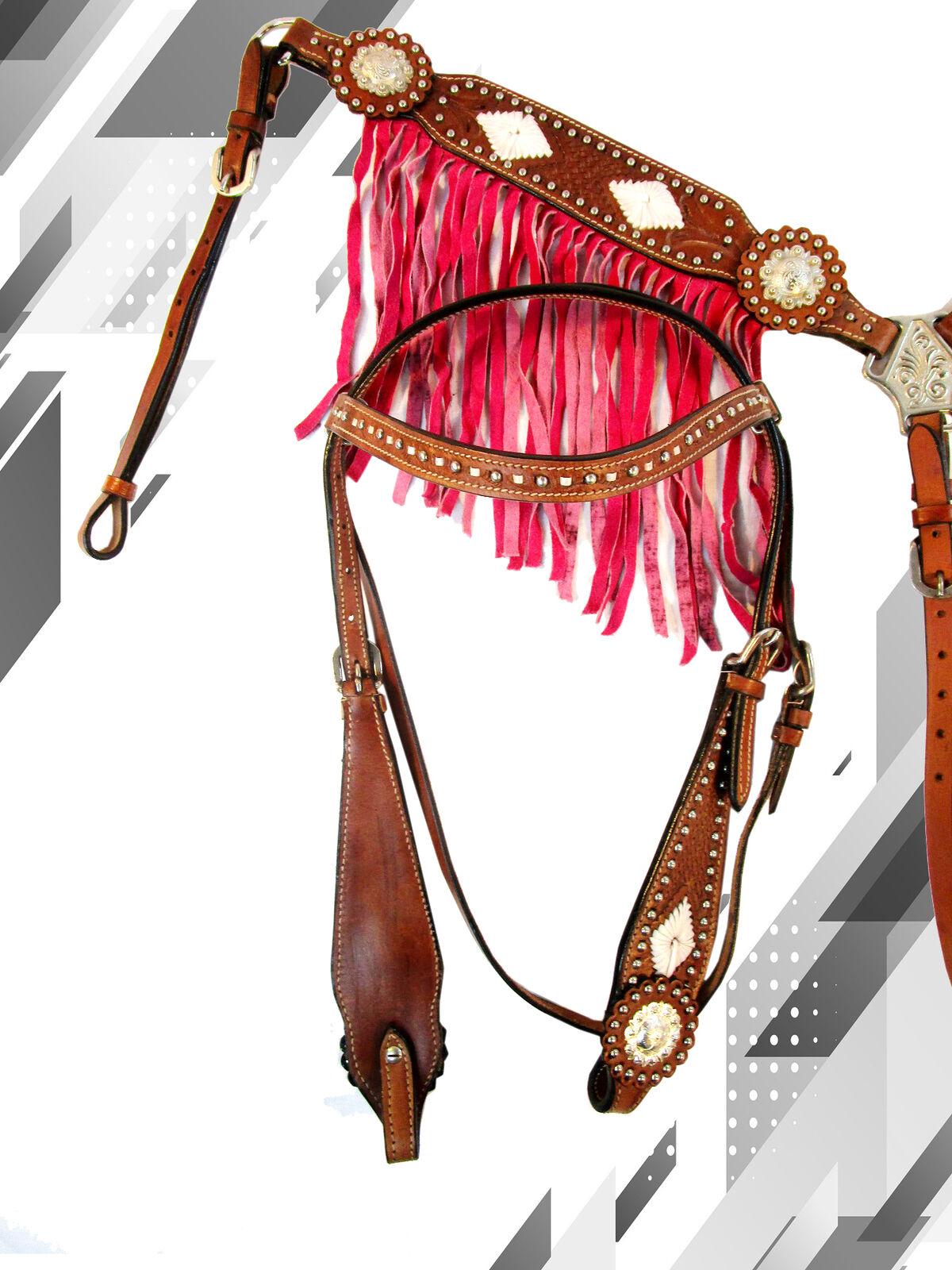 PINK FRINGE STONE HORSE CABEZADA HORSE HEADSTALL TRAIL PLEASURE  BRAESTCOLLAR  official authorization