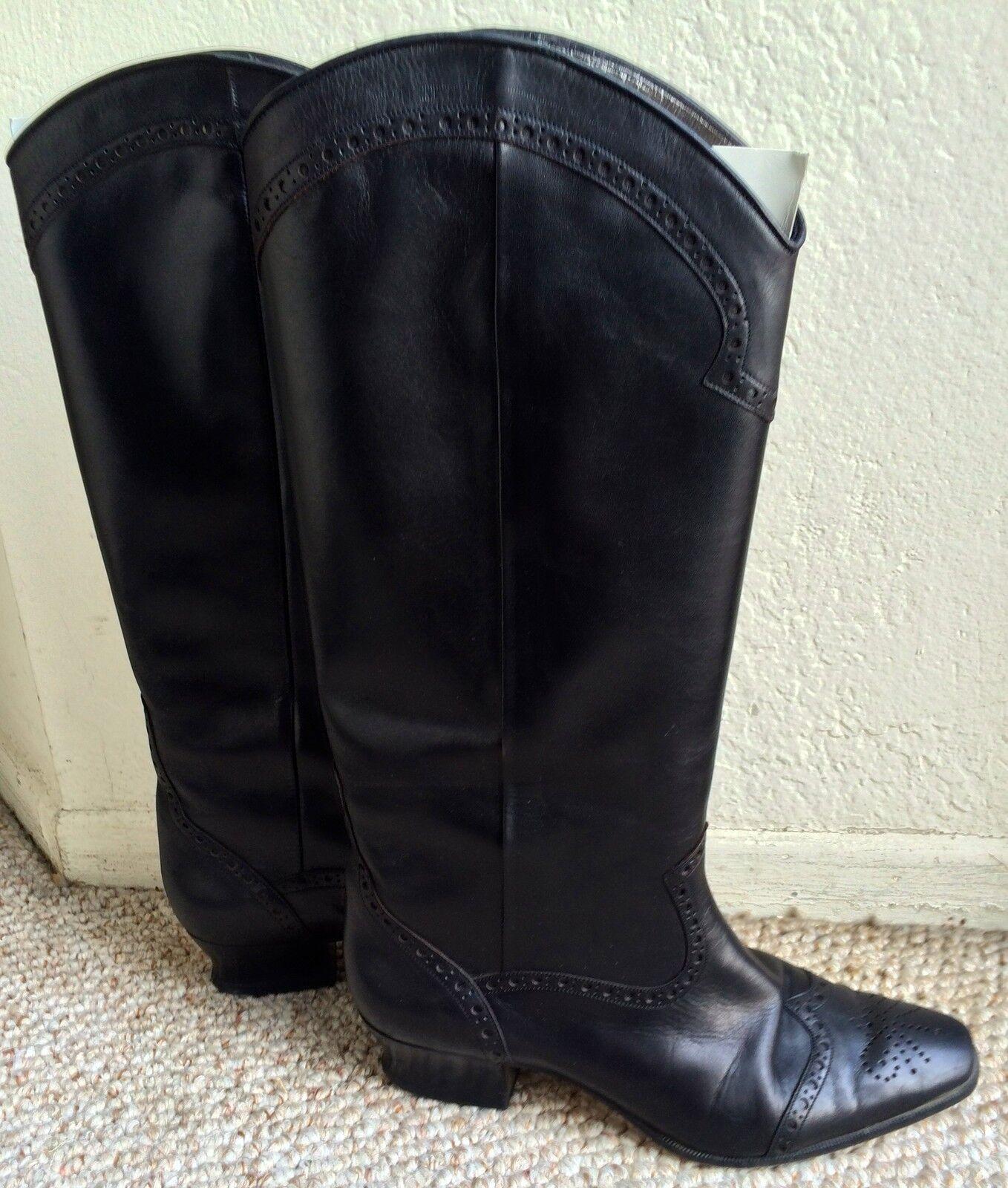 basso prezzo del 40% PETER FOX 8.5 WESTERN HEELS COWBOY COWBOY COWBOY COWGIRL nero LEATHER HIGH stivali scarpe W  BOX  ordinare on-line