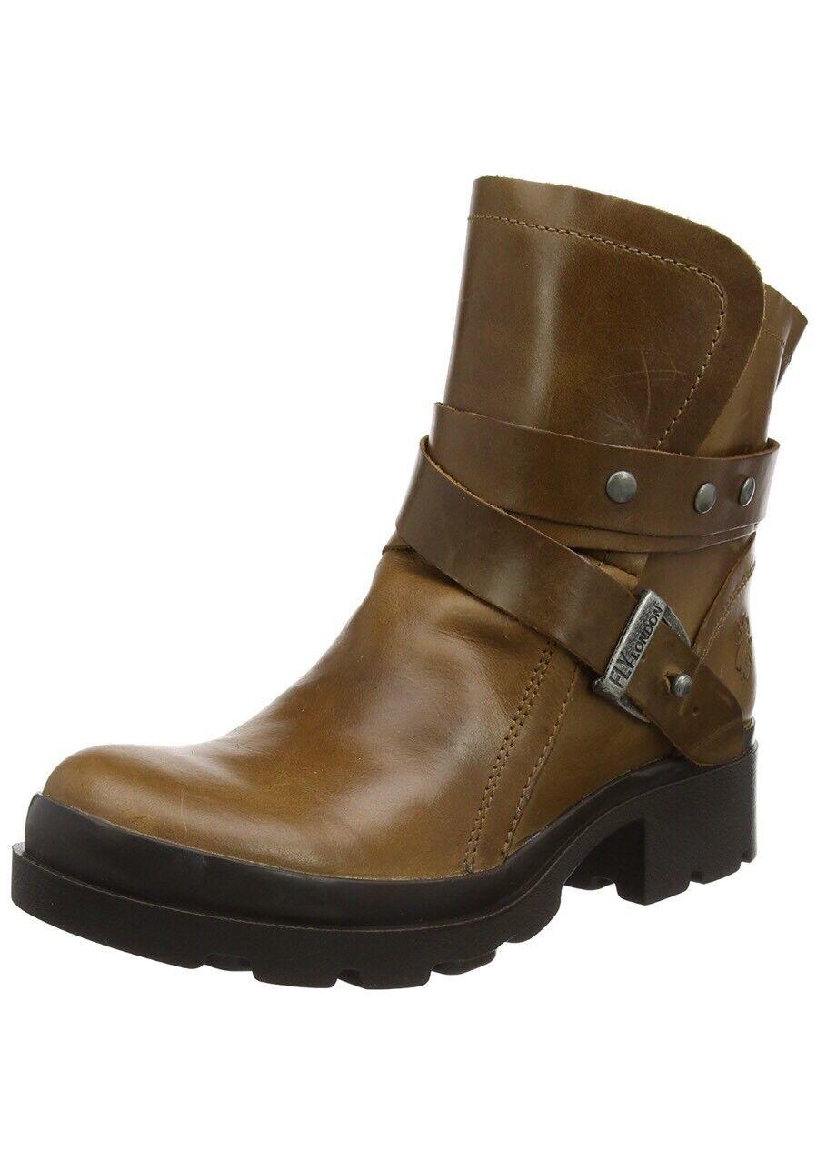 Fly London Womens Mok Biker Boots  Brown Camel UK 7 EU 40 (P143382001)
