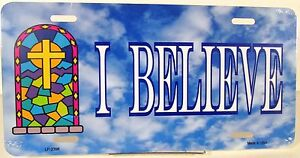 Religious-license-plate-I-BELIEVE-on-a-cloud-New-novelty-aluminum-car-auto-tag