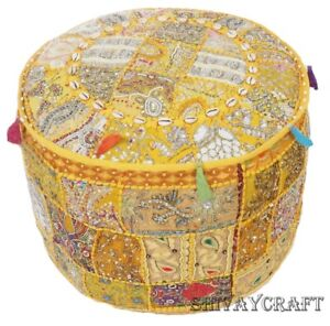 Pouf Handmade Patchwork embroidered  Round Ottoman Cover Foot Stool 16x12 Yellow