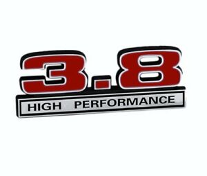 3-8-Liter-231-amp-232-V6-Engine-Emblem-Logo-Badge-in-Chrome-amp-Red-5-034-Long