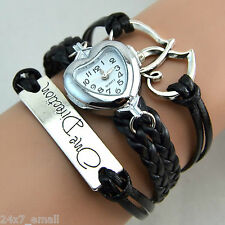 One Direction Heart Watch Charm Bracelet+Twin Hearts+One Direction+Leather BLACK