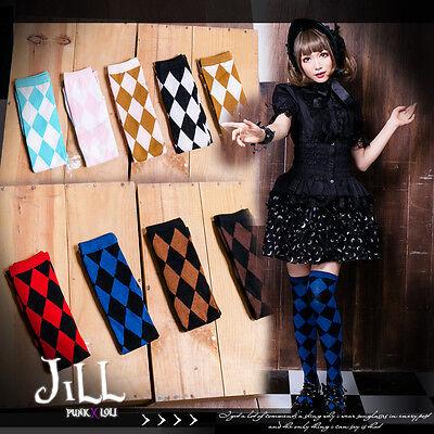 goth lolita alice in wonderland white rabbit herald unisex argyle socks J1I7006