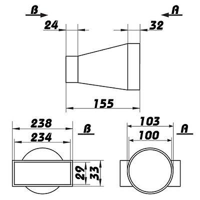 Übergangsstück, Adapter rund/ultraflach ,Abluftrohr,Flachkanal, Lüftungsrohr