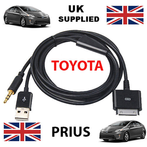 iPod reemplazo de cable USB y AUX 3.5mm en Negro TOYOTA PRIUS iPhone