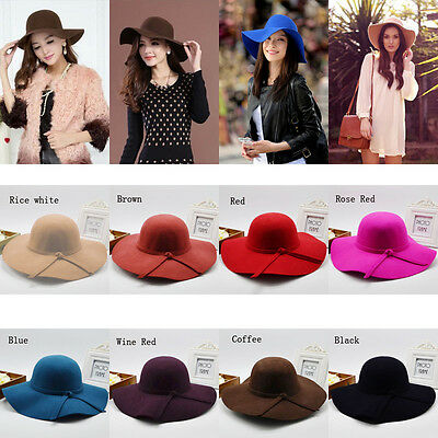 Fashion Vintage Soft Women Wide Brim Wool Felt Bowler Fedora Hat Floppy Cloche