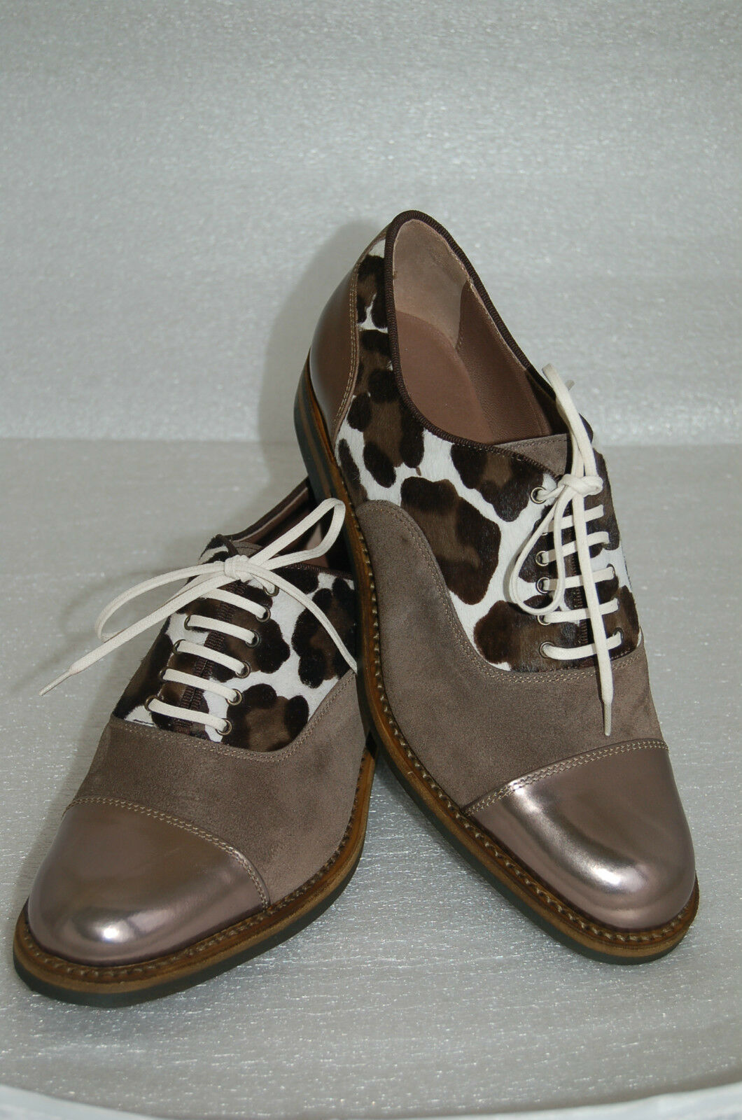 WOMAN CAPTOE OXFORD - 40 eu- BRONZE CALF/SUEDE/ PRINTED PONY- LTH SOLE+DAINITE
