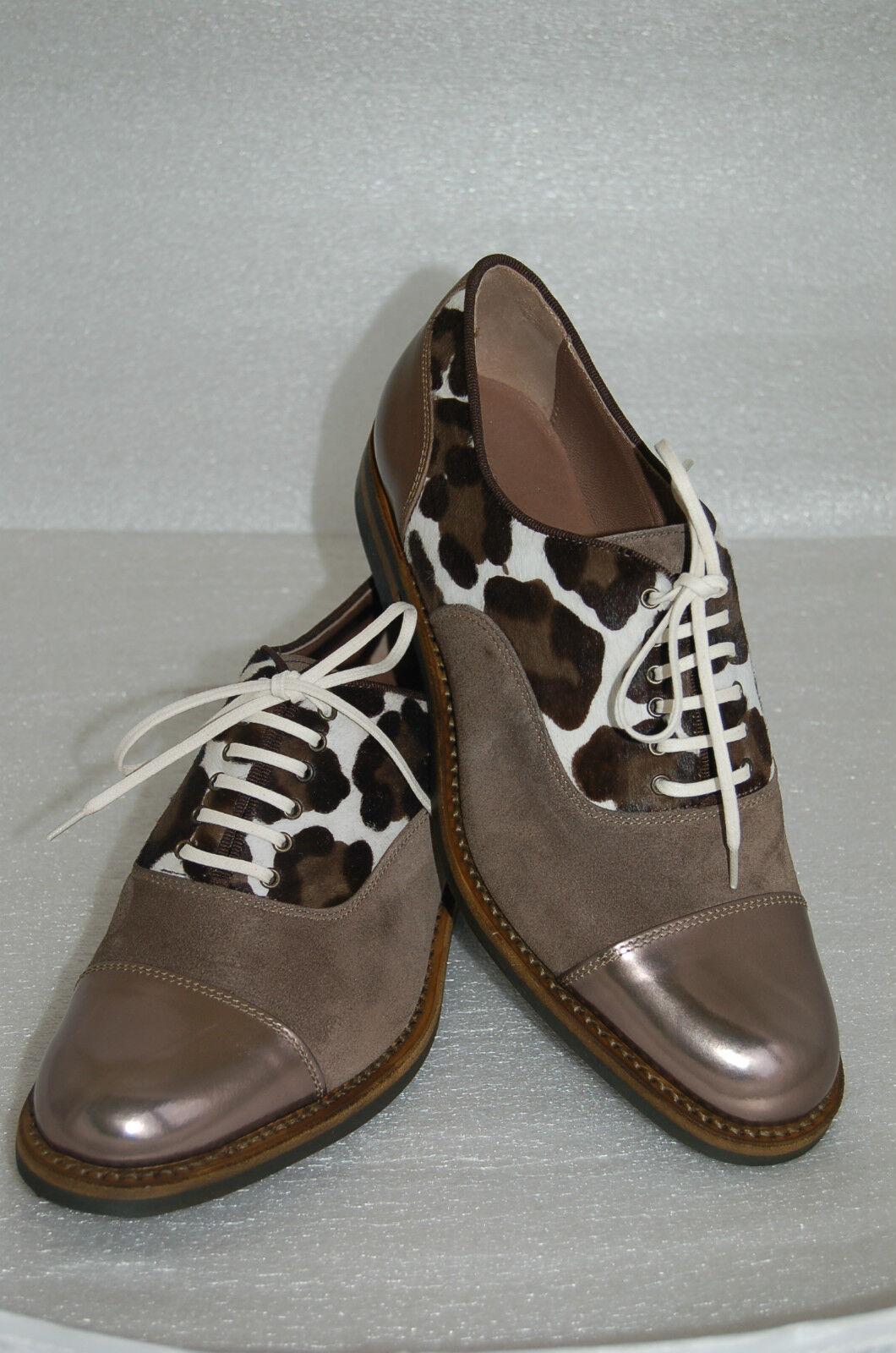 WOMAN CAPTOE CALF/SUEDE/ OXFORD - 40 eu- BRONZE CALF/SUEDE/ CAPTOE PRINTED PONY- LTH SOLE+DAINITE c9b5f3