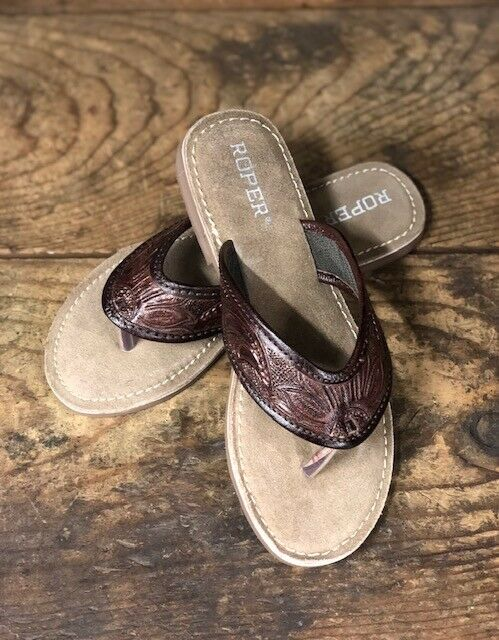 Roper Donna Donna Donna  Marronee Tooled Leather Sandals 1268 8e4c61