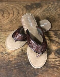 Details about Roper Women's Brown Tooled Leather Sandals 1268