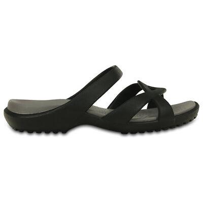 NEW Genuine Comfy Crocs Women Meleen Twist Sandal Black/Smoke - Australia Store