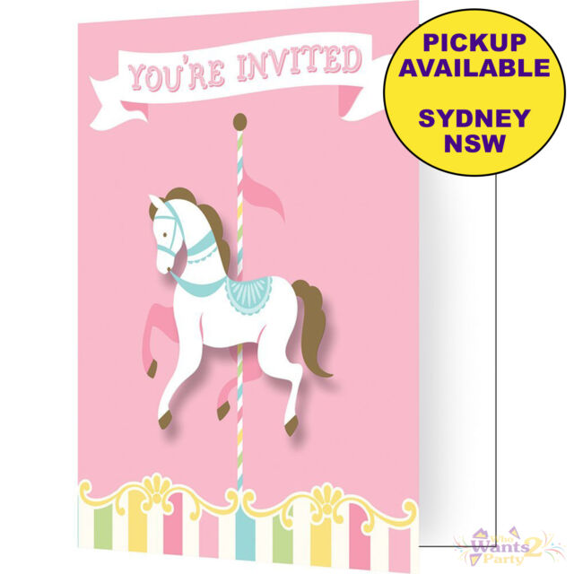 PINK CAROUSEL HORSES PARTY SUPPLIES 8 BABY SHOWER INVITATIONS BIRTHDAY INVITES