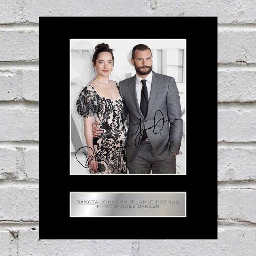 Dakota Johnson and Jamie Dornan Signed Mounted Photo Display Fifty Shades Darker