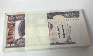 MONGOLIA 100 TUGRIK 2000 P 65 UNC LOT 100 PCS 1 BUNDLE