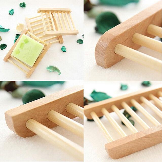 Natural Wood Soap Tray Holder Dish Box Case Storage Novelty Shower Wash New LO