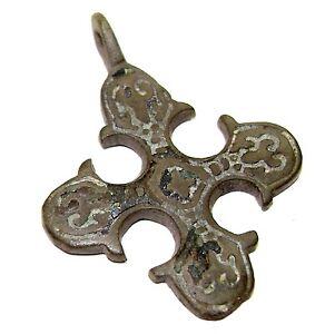Ancient Very Rare Viking bronze cross with Runic Script. Blackening. Kievan Rus
