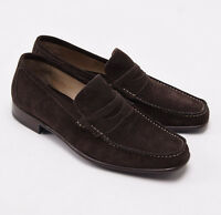 $900 Sutor Mantellassi Chocolate Brown Calf Suede Penny Loafers Us 8 D Shoes on sale