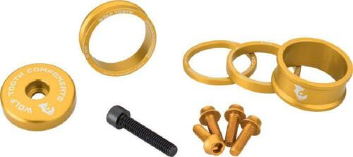 15mm Wolf Tooth Components BlingKit: Headset Spacer Kit 3 Gold 5,10