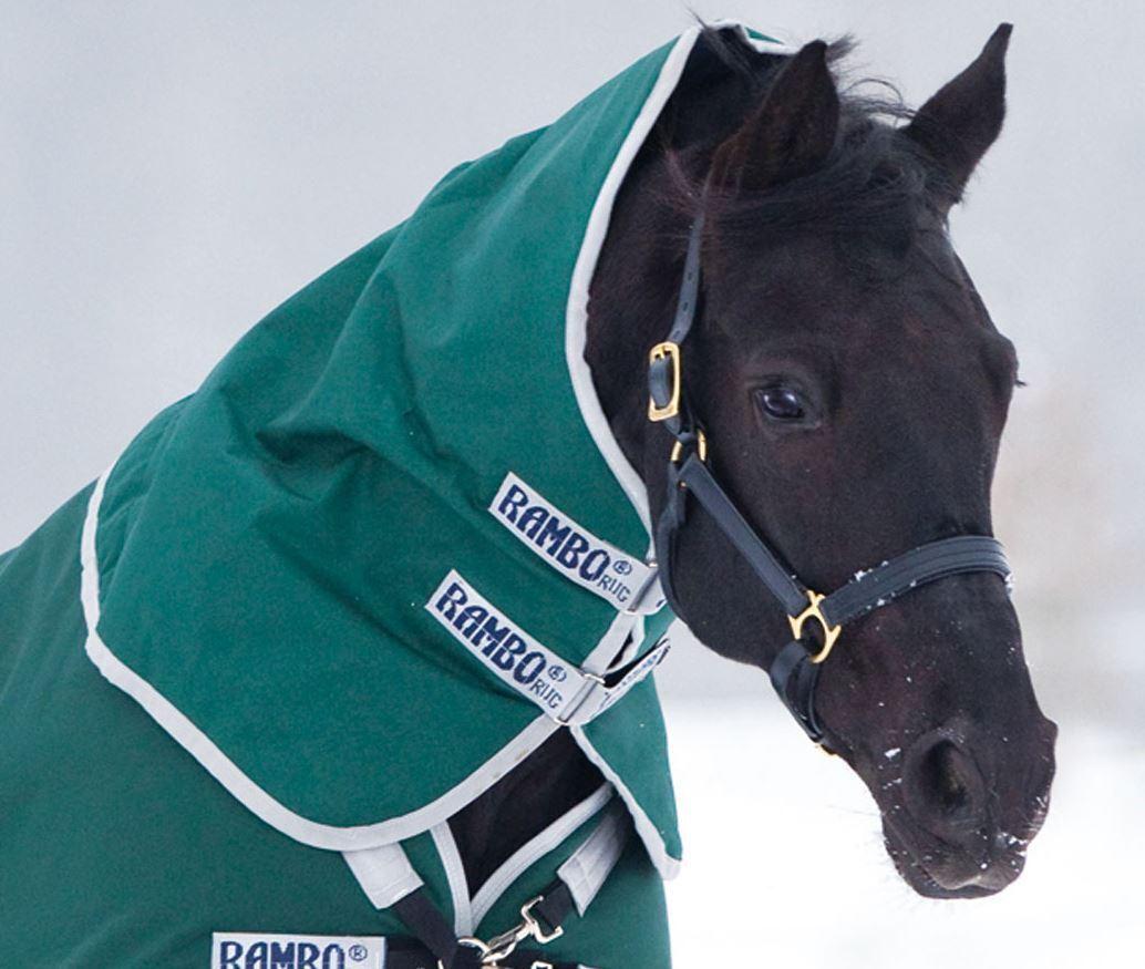 Horseware RAMBO ORIGINALE affluenza alle urne HOOD NECK COVER LUCE 0g verde Denim Grigio S-XL