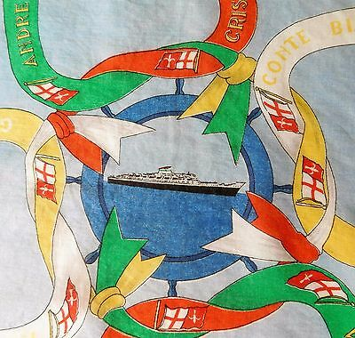 Vintage 1950s silk square Italian ships Cosulich Line pocket handkerchief scarf