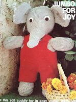 Jumbo the Elephant toy  knitting pattern.