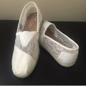 Toms Lace Ivory Rope Shoes Sz 6.5 | eBay