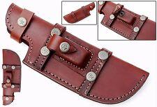 Custom Handmade Horizontal Left Hand Tracker Knife Leather Sheath Brown S11