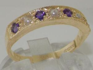 Solid 10ct Yellow Gold Pearl and Amethyst Womens Band Ring  Sizes J to Z - Chesham, United Kingdom - Solid 10ct Yellow Gold Pearl and Amethyst Womens Band Ring  Sizes J to Z - Chesham, United Kingdom