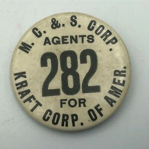 """Vintage MC & S Agent For Kraft Corp 2-1/4"""" Employee ID Badge Pin Button Rare  R8"""