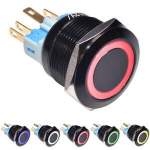 Drucktaster-Taster-Druckschalter-Knopf-22-mm-LED-RING-beleuchtung-Alu-schwarz
