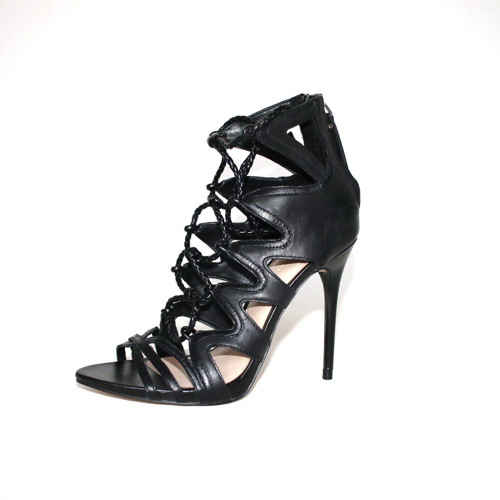 Cuero zara pumps pumps pumps 36 negro tacón alto con tiras sandalias noche zapatos de fiesta  exclusivo