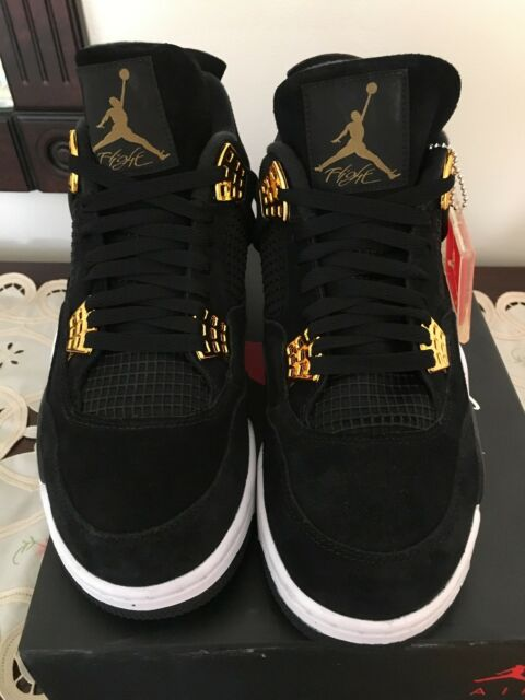 "b5e15669e0a3 New Men Nike Air Jordan 4 Retro ""Royalty"" Size 10.5 Black Gold-White ..."