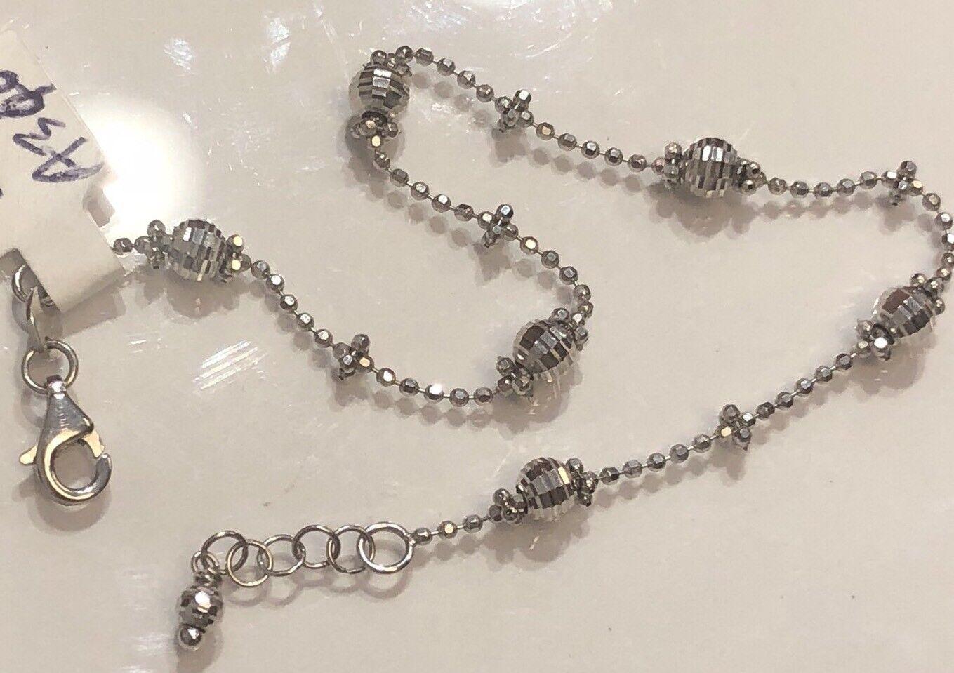 18K White gold Thin Shinny Diamond Cut Balls Bracelet 2.6 Grams - 7  Women