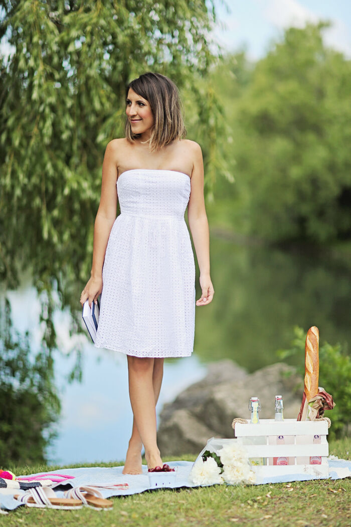 ff284ffc3e3c8 Old Blogger White Strapless Eyelet Dress US Size 2 NWT Navy ...
