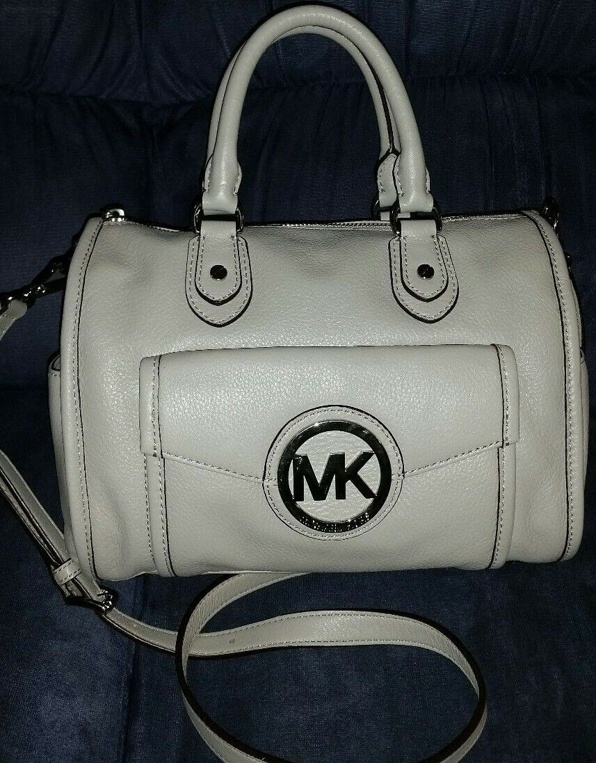 619da50ebfaee4 Michael Kors Margo Top Zip Pearl Gray Leather Satchel Purse ...