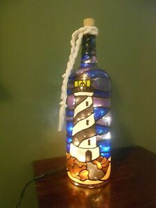 Image Is Loading Lighthouse Wine Bottle Lamp  Handpainted Lighted Stained Glass