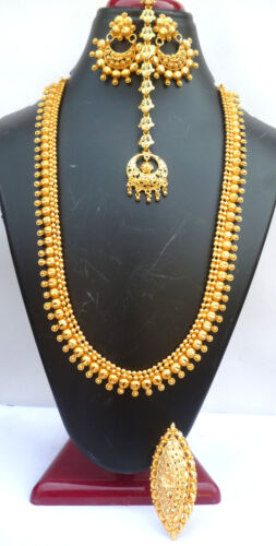 Indian 22K Gold Plated Bollywood Designer Gorgeous Chain Necklace Earrings Set