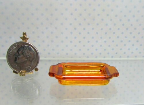 Dollhouse Miniature or Fairy Garden Amber Glass Baking Pan with Handles