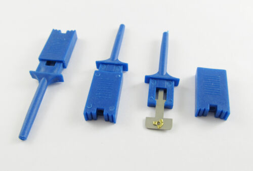 10x Single Hook Clip Flat Mini Grabber Test Probe for SMD IC Multimeter DIY Blue