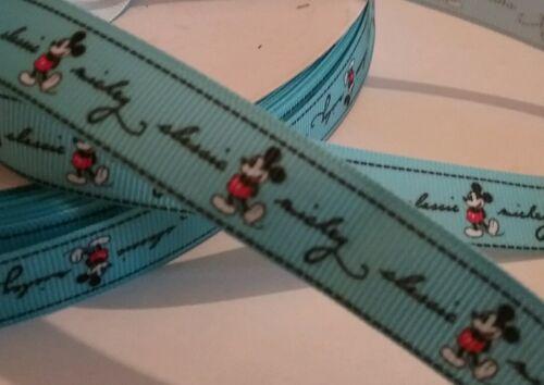 Patrón de dibujos animados Mouse 1m Azul 16mm Cinta de Grogrén Artesanía Decoración Pasteles Envoltura De Regalo