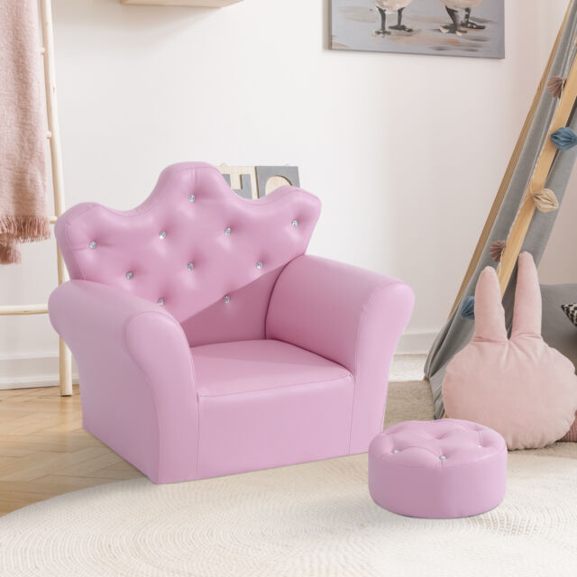 Outstanding Girls Princess Armchair Kids Soft Pink Sofa Chair Footstool Playroom Furniture Bralicious Painted Fabric Chair Ideas Braliciousco