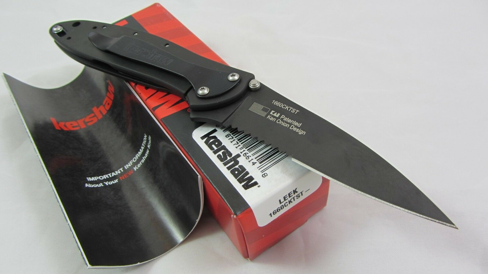 Kershaw 1660CKTST DLC Coated Leek Pocket Knife Assisted Opening Black USA Flag