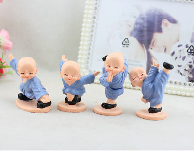 100% Quality 4pc/set Chinese Resin Figure Of 4 Shaolin Kungfu Monk Monks Miniatures