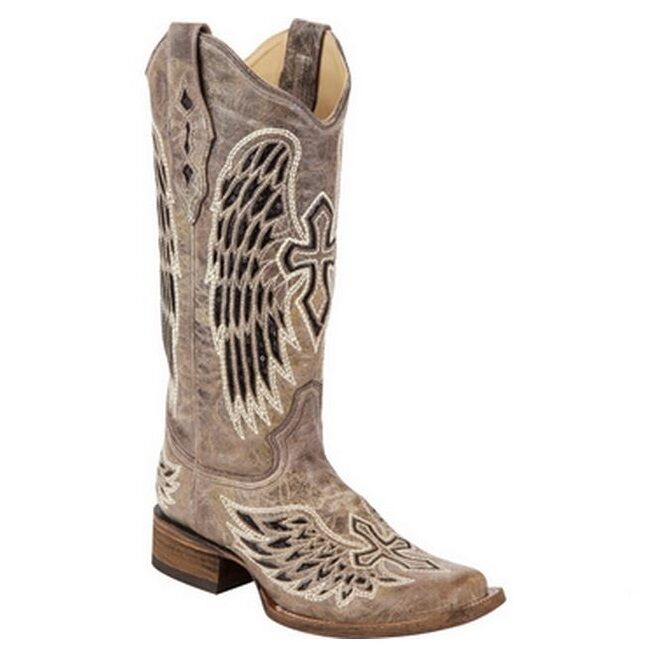 Corral Ladies Black Wing & Cross Sequence Square Toe Boot A1197