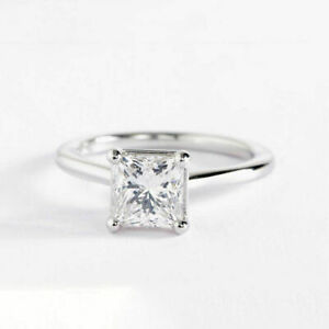 2.00 Ct Princess Moissanite Anniversary Ring 18K Solid White Gold ring Size 7