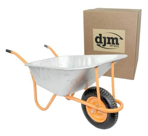 DJM Heavy Duty Galvanised Steel Garden Wheelbarrow 90ltr 180kg Pneumatic Tyre