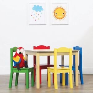 Brilliant Details About Kids Table And Chair Set 5 Piece Natural Wood Activity Table And 4 Chairs Set Machost Co Dining Chair Design Ideas Machostcouk