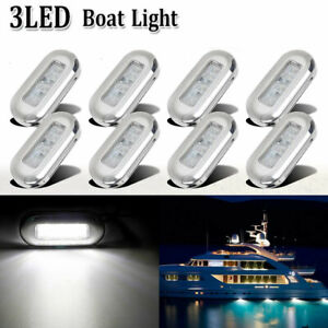 8x Marine Boat LED Courtesy Lights Stainless Cabin Deck Stair Lighting White USA