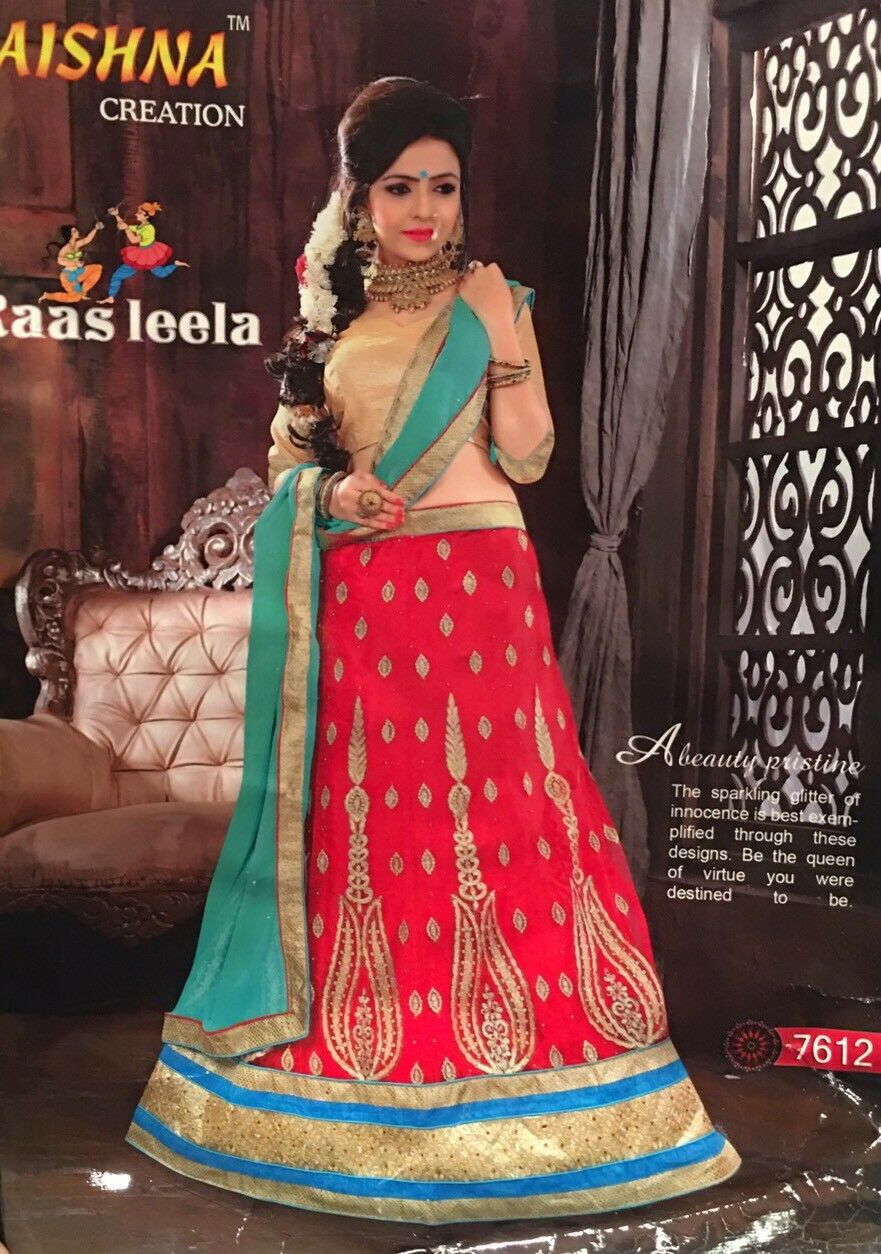 Lahenga Saree Indian Bollywood Bridal Lehenga Sari Semi stitched Red Green